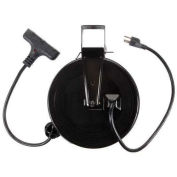 Bayco Triple Tap Extension Cord, Retractable Reel, 30'L Cord, 14/3 GA, Black