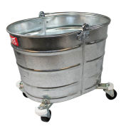 Impact 26 Qt Bucket W/ 2 In Casters Galvanized Steel Oval