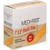 "Medique 60033 Plastic Strip Bandage, 1"" x 3"" Strip, 100/Box"