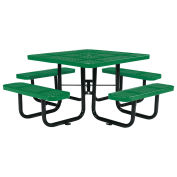 "46"" Square Picnic Table, Surface Mount, Green"