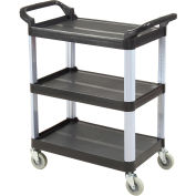 "Luxor Black 3-Shelf Plastic Serving Utility Cart, 200 Lb. Capacity, 33-1/2""L x 16-3/4""W x 36-3/4""H"