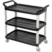 "Luxor Black 3-Shelf Plastic Serving Utility Cart, 300 Lb. Capacity, 40-1/2""L x 19-3/4""W x 37-1/4""H"