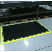 "Durable Corp Workmaster II Anti-Fatigue Mat w/ 3 Side Hi-Vis Yellow Border, 26""x40"""