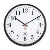 "12.75"" Round Radio Controlled Wall Clock, Plastic Case, Black"