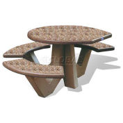 "66"" ADA Compliant Concrete Oval Picnic Table, Brown"