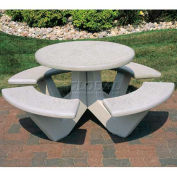 "66"" Concrete Round Picnic Table, Misty Gray"