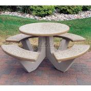 "66"" Concrete Round Picnic Table, Sand"