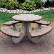 "66"" Concrete Round Picnic Table, Brown"