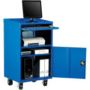 "Mobile Computer Cabinet, Blue, 27""W x 24""D x 49-1/4""H"