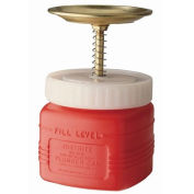 Justrite 14018 Plunger Can, 1-Quart, Non-Metallic, Red