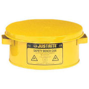 Justrite 10380 Bench Can, 1-Gallon, w/ Basket, Yellow
