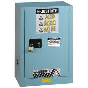 "Justrite 12 Gal. Acid Corrosive Cabinet w/Painted Bottom, 23-1/4""Wx18""Dx35""H,Blue"