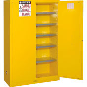 "Justrite 60 Gallon Paint & Ink Cabinet, 43""W x 18""D x 65""H, Yellow"