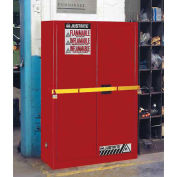 """45 Gallon 2 Door, Manual, High Security Flammable Cabinet, 43""""W x 18""""D x 65""""H, Red"""