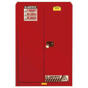 "45 Gallon 2 Door, Self-Close, Flammable Cabinet, 43""W x 18""D x 65""H, Red"