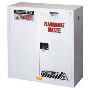 """45 Gallon 2 Door, Self-Close, Flammable Waste Cabinet, 43""""W x 18""""D x 65""""H, White"""