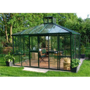 "Exaco Teahaus Pavilion, Aluminum Frame & Tempered Glass, 13' 1""L X 13' 1""W X 11' 6""H, Green"