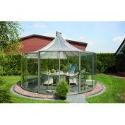 "Exaco Rondo Pavilion, Aluminum Frame & Tempered Glass, 12' 11""L X 12' 11""W X 11' 10""H, Grey"