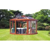 "Exaco Balneo Pavilion, Scandinavian Wood Frame & Clear Polycarbonate, 14'1""L X 14' 1""W X 9' 10""H"