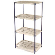 Vented Plastic Shelving, Nexelon Finish, 36x24x86