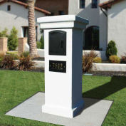 Manchester Stucco Locking Column Mailbox, Slate Gray w/Decorative Fleur De Lis Door