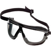 Gogglegear™ Safety Goggle With Strap & Headband, Black Frame, Clear Lens