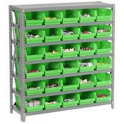 "7 Shelf Steel Shelving with (30) 4""H Plastic Shelf Bins, Green, 36x18x39"