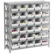 "7 Shelf Steel Shelving with (30) 4""H Plastic Shelf Bins, Stone White, 36x18x39"