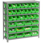 "7 Shelf Steel Shelving with (36) 4""H Plastic Shelf Bins, Green, 36x18x39"