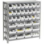 "7 Shelf Steel Shelving with (36) 4""H Plastic Shelf Bins, Stone White, 36x18x39"