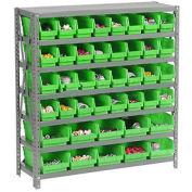 "7 Shelf Steel Shelving with (42) 4""H Plastic Shelf Bins, Green, 36x18x39"