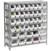 "7 Shelf Steel Shelving with (42) 4""H Plastic Shelf Bins, Stone White, 36x18x39"