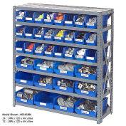 "7 Shelf Steel Shelving with (48) 4""H Plastic Shelf Bins, Green, 36x18x39"