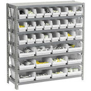 "7 Shelf Steel Shelving with (48) 4""H Plastic Shelf Bins, Stone White, 36x18x39"