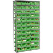 "13 Shelf Steel Shelving with (60) 4""H Plastic Shelf Bins, Green, 36x12x72"