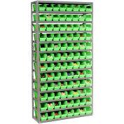 "13 Shelf Steel Shelving with (96) 4""H Plastic Shelf Bins, Green, 36x12x72"
