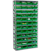 "13 Shelf Steel Shelving with (48) 4""H Plastic Shelf Bins, Green, 36x18x72"