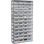 "13 Shelf Steel Shelving with (48) 4""H Plastic Shelf Bins, Stone White, 36x18x72"