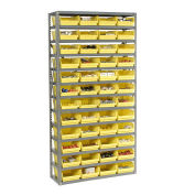 "13 Shelf Steel Shelving with (60) 4""H Plastic Shelf Bins, Stone White, 36x18x72"