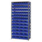 "13 Shelf Steel Shelving with (76) 4""H Plastic Shelf Bins, Green, 36x18x72"