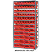 "13 Shelf Steel Shelving with (96) 4""H Plastic Shelf Bins, Green, 36x18x72"