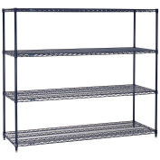 "Nexelon Wire Shelving, Blue Epoxy, 72""W X 14""D X 54""H"