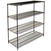 "Nexel Wire Shelving, Black Epoxy, 60""W X 18""D X 63""H"