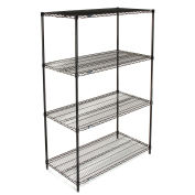 "Nexel Wire Shelving, Black Epoxy, 48""W X 24""D X 74""H"