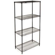 "Nexel Wire Shelving, Black Epoxy, 36""W X 24""D X 74""H"