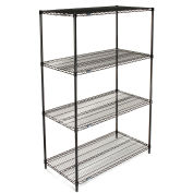 "Nexel Wire Shelving, Black Epoxy, 48""W X 18""D X 74""H"