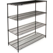 "Nexel Wire Shelving, Black Epoxy, 54""W X 18""D X 63""H"