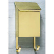 Vertical Wall Mount Mailbox in Smooth Polished Brass