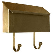 Horizontal Wall Mount Mailbox in Hammered Antique Brass