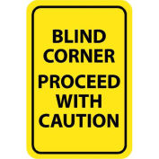 "NMC Traffic Sign, Blind Corner Proceed With Caution, 18"" X 12"", Yellow/Black, TM71G"